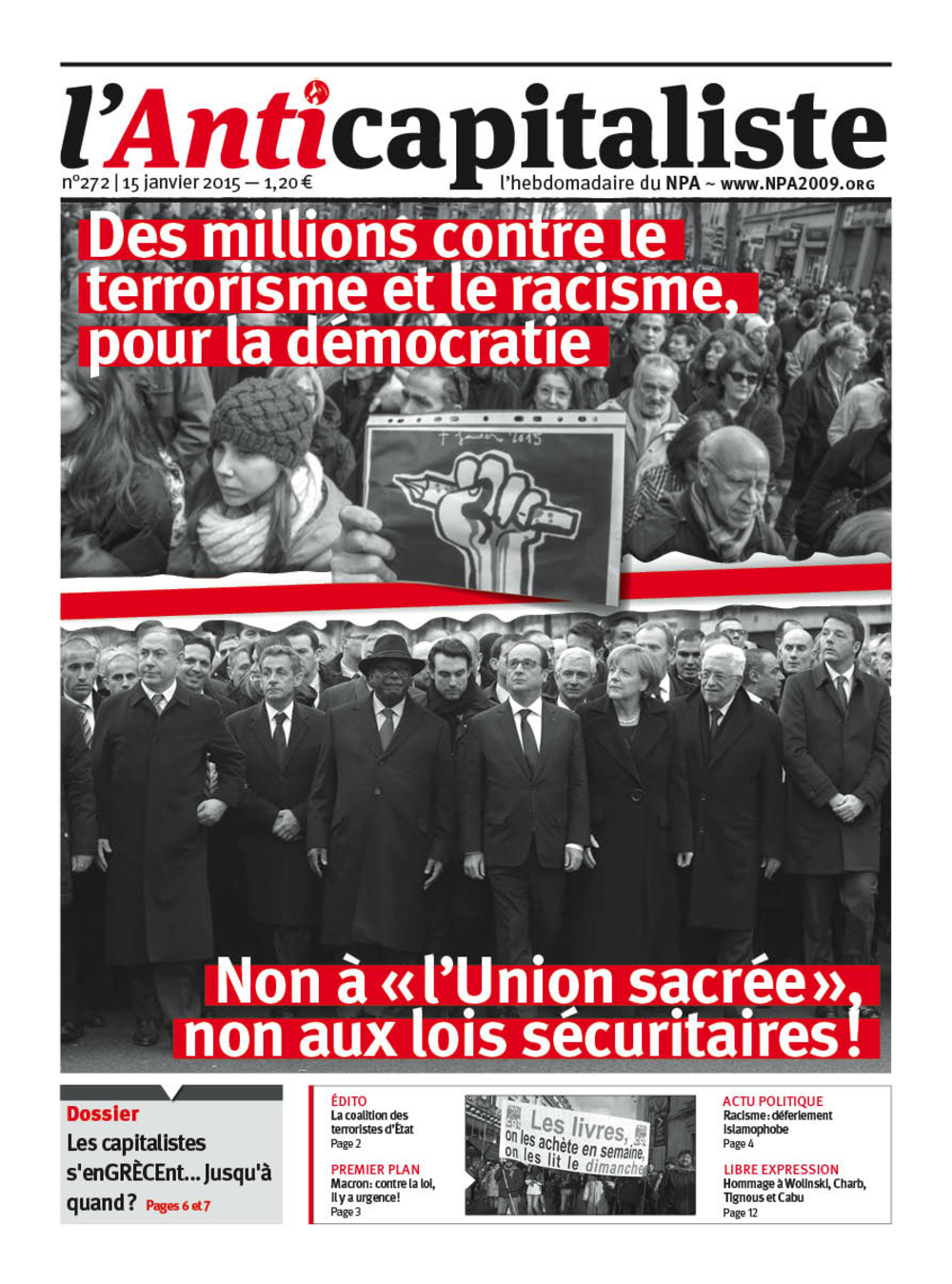 Attentat contre Charlie Hebdo - Page 14 Antik272_la_une