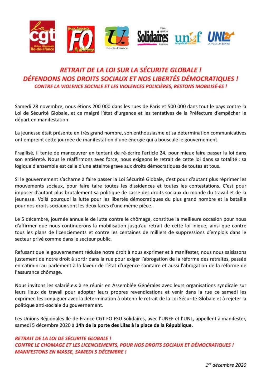 Paris Manifestation Pour Le Retrait De La Loi De Securite Globale Contre Le Chomage Et Les Licenciements Npa